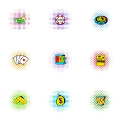 Gambling icons set, pop-art style