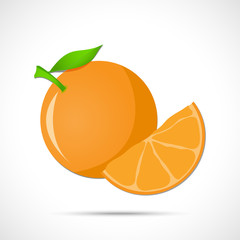 Orange, mandarin with leaf and sliced lobule. Fruit icon.