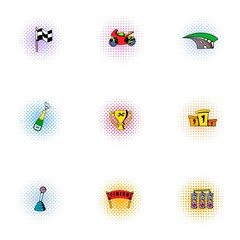 Championship formula 1 icons set, pop-art style