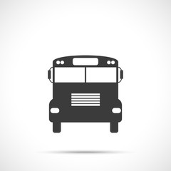 School bus icon in front view. Flat design style.