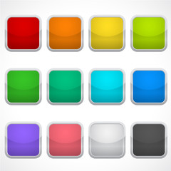 Set of blank square icons in different colors. Stickers, buttons.