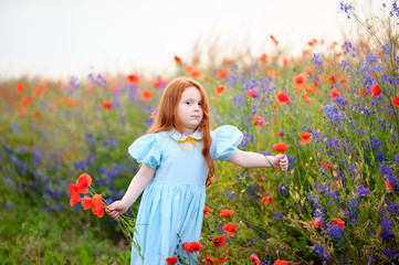 redhead young girl gathers a bouquet of wild flowers