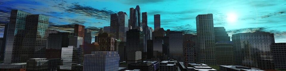 Panorama of a modern city, the sunset on the urban landscape