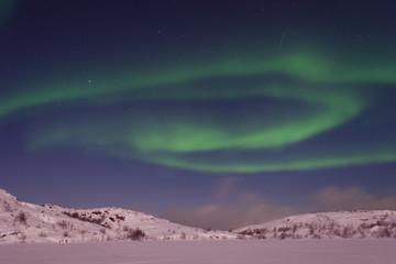 Winter,snow,Aurora,Northern lights.