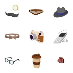 Subculture hipsters icons set, flat style