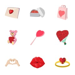 Saint Valentines day icons set, cartoon style