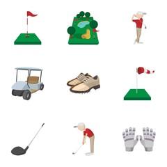 Golf icons set, cartoon style