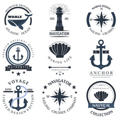 Set of sea and nautical decorations vector illustration.