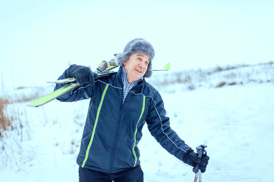 senior at the cross-country skiing in winter
