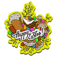 Cartoon cute doodles hand drawn Happy Easter design element with lettering on a white background.