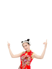 happy Chinese new year. Asian Dj  girl on White background