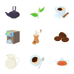 Drink icons set, cartoon style
