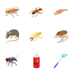 Pests of homes icons set, cartoon style