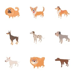 Pet dog icons set, cartoon style