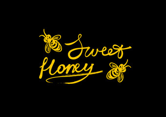 Sweet honey logotype with stylized bees. Vector hand drawn illustration.