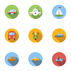 Types of transport icons set, flat style