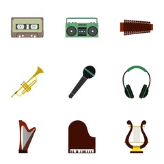 Tools for music icons set, flat style