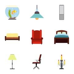 Home furnishings icons set, flat style