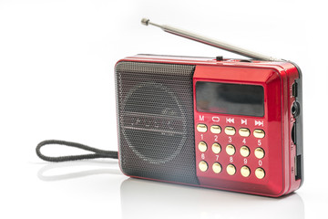 Red radio with white background