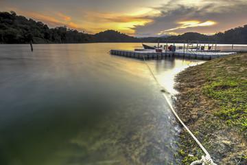 Amazing sunset at Royal Belum Forest in Perak, Malaysia.