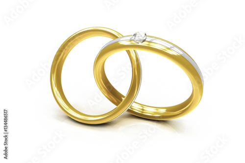 Zwei Ringe Aus Gold Mit Diamant Konzept Hochzeit Verlobung Liebe
