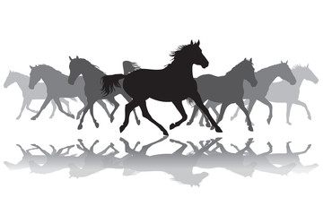Trotting horses silhouette background illustration