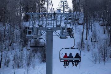 Winter mountains panorama with ski slopes and ski lifts