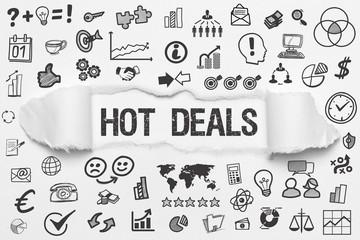 Hot Deals / weißes Papier mit Symbole