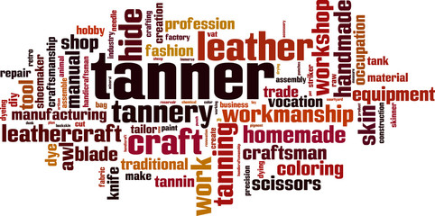 Tanner word cloud concept. Vector illustration