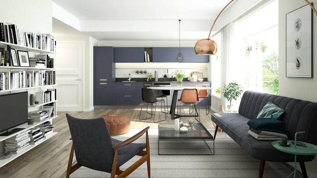 3D rendering of a modern living room and open kitchen with a trendy color scheme