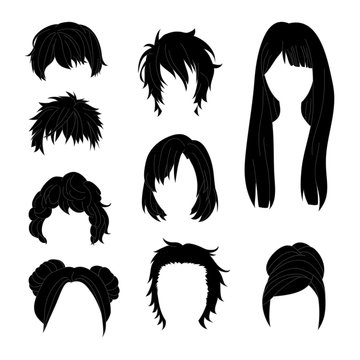 Collection Hairstyle for Man and Woman Black Hair Drawing Set 2. Vector illustration isolated on White Background