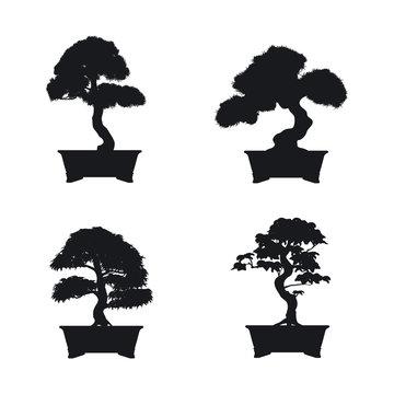 Bonsai set. Black silhouette of bonsai on white background. Japa