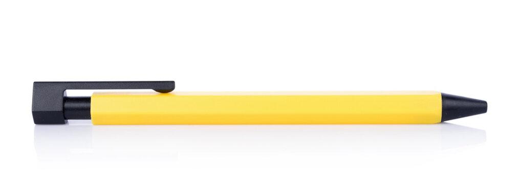 Yellow pen on white background