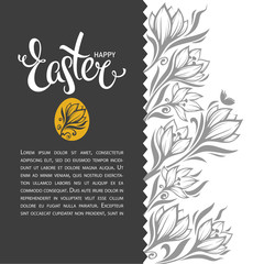 happy Easter, vector greeting card design template with letterin
