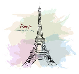 Hand drawn Eiffel Tower. Paris. Sketch tower with colofrul background. Vector illustration.