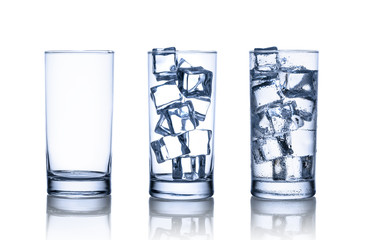 One empty, one full with ice cubes and one full with water and i
