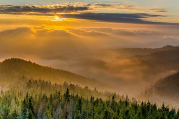 Gorce,Lubań zachód słońca.