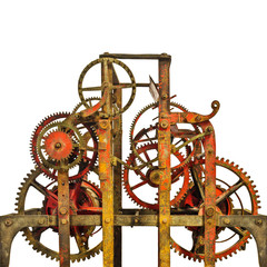 Large ancient church clock mechanism isolated on white