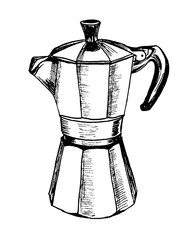 Moka pot coffee maker sketch hand drawn