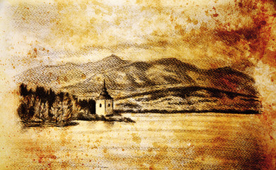 landcsape scenery with lake, chapel and mountains, pencil drawing, vintage effect.