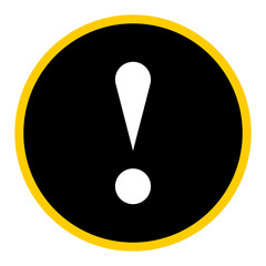 Black circle exclamation mark icon warning sign attention button