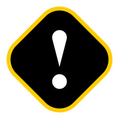 Black rhomb exclamation mark icon warning sign attention button