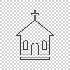 Line church sanctuary vector illustration icon. Simple flat pictogram for business, marketing, mobile app, internet on isolated background