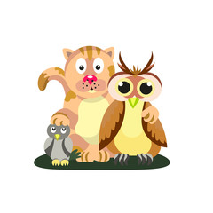 Friendly company. Cat, owl and titmouse.  Friendship. Style flat