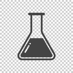 Chemical test tube pictogram icon. Chemical lab equipment isolated on isolated background. Experiment flasks for science experiment. Trendy modern vector symbol. Simple flat illustration