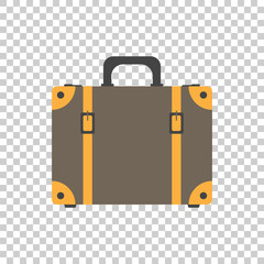 Suitcase flat vector illustration on isolated background. Case for tourism, journey, trip, tour, voyage, summer vacation.