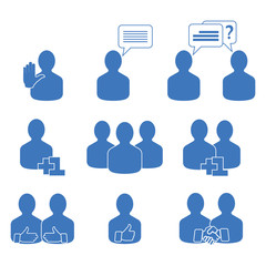 Abstract people icons set. Vector illustration of a communication concept, relating to feedback, reviews and discussion.