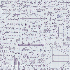 Mathematical vector seamless pattern with formulas, tasks and plots, handwritten on grid copybook paper