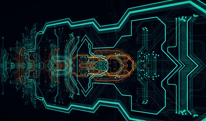 Abstract background made of array of points and line/Circuit board background, can be used as digital dynamic wallpaper, technology background. 3D illustration