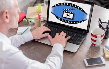 Cinema concept on a laptop screen